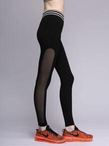 Black Striped Trim Leggings