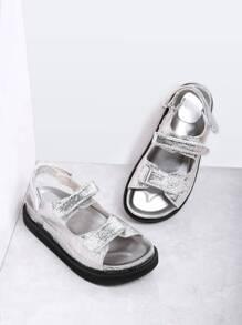 Silver Velcro Strap PU Flat Sandals