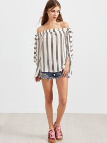 White Striped Off The Shoulder Split Sleeve Top