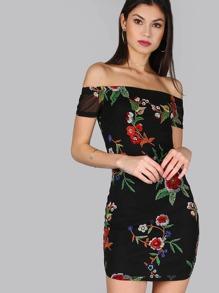 Floral Short Sleeve Mesh Dress BLACK
