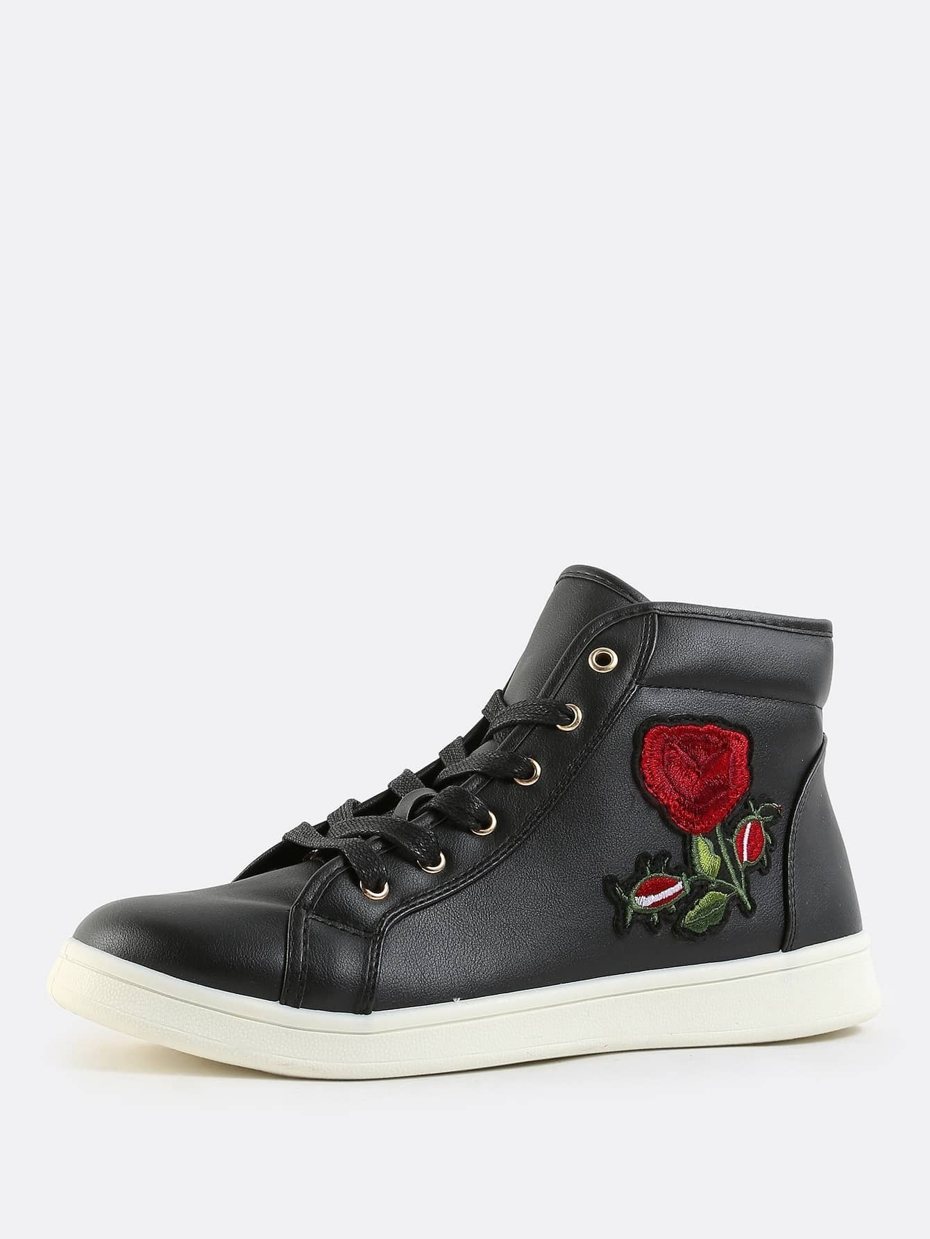 High top rose embroidered sneakers black emmacloth women