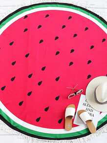 Red Watermelon Print Fringe Trim Round Beach Blanket
