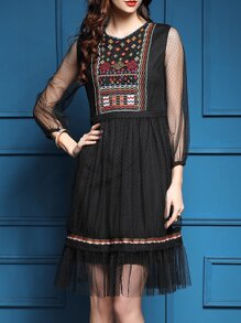 Black Sheer Tribal Embroidered Pleated Dress