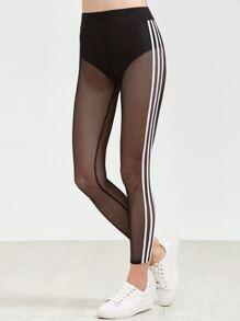 Black Side Striped Fishnet Leggings