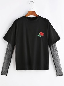 Black Rose Embroidered Patch Contrast Mesh Sleeve 2 In 1 T-shirt
