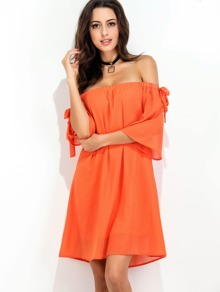 Orange Off The Shoulder Tie Detail Dress