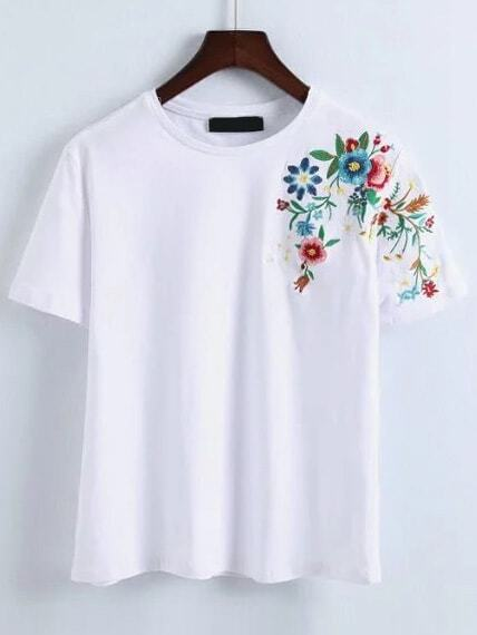 White flower embroidery t shirt emmacloth women fast for White floral shirt womens