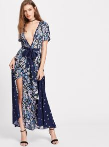 Navy Floral Print Deep V Neck Belted Dress