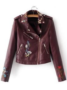 Burgundy Embroidery Oblique Zipper PU Jacket