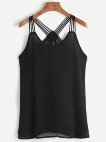 Black Strappy Back Layered Chiffon Cami Top