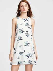 White Floral Print Buttoned Keyhole Tank Dress