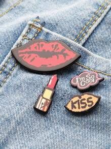 Red Lip Pin Set