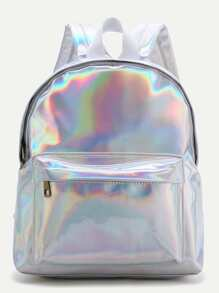 Sliver Front Pocket PU Backpack