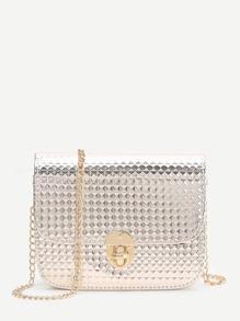 Gold Diamond Textured Twist Lock Chain Bag