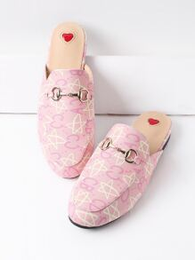 Pink Star And Letter Print PU Loafer Mules