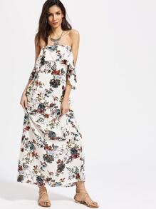 White Floral Print Cutout Back Ruffle Off The Shoulder Dress