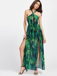 Green Tropical Print Keyhole Cross Neck Slit Dress