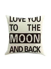 White Slogan Print Pillowcase Cover