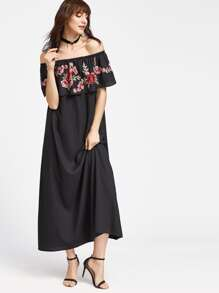 Black Rose Patch Ruffle Off The Shoulder Dress