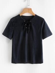 Navy V Cut Lace Up T-shirt