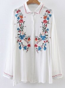 White Embroidery Single Breasted Blouse
