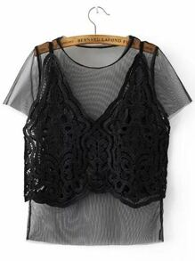 Black Crochet Cami 2 In 1 Mesh Top