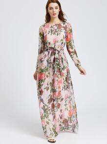 Floral Print Chiffon Dress With Belt