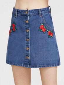 Embroidered Rose Patch Button Up Denim Skirt