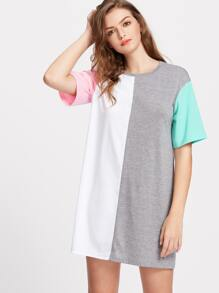 Color Block Short Sleeve Tee Dress