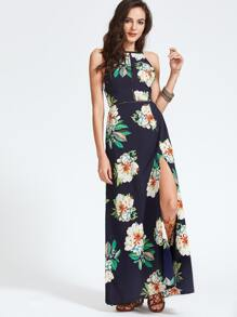 Navy Florals Open Back Bow Tie Slit Hem Dress