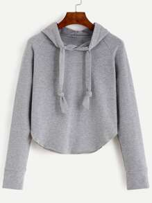 Grey Raglan Sleeve Hooded Sweatshirt