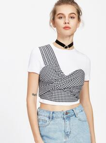 Black And White Checkered Twist Front One Shoulder Top