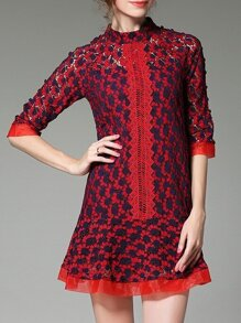 Red Contrast Navy Mesh Lace Dress
