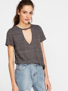 Grey Striped Cutout V Neck T-shirt