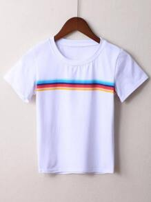 White Striped Short Sleeve T-shirt