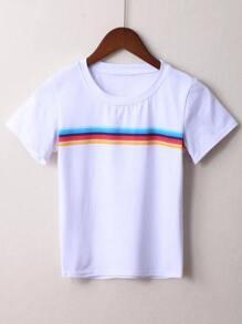 White Striped Short Sleeve T-shirt