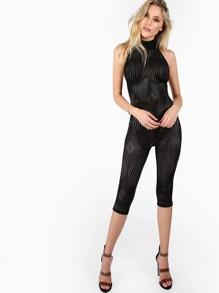 Halter Patterned Fishnet Bodysuit BLACK