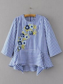 Grid Flower Embroidery Blouse