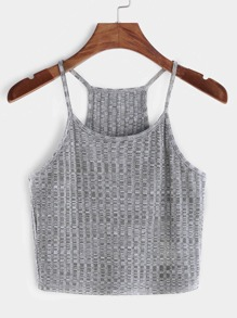 Heather Grey Ribbed Knit Racer Back Cami Top