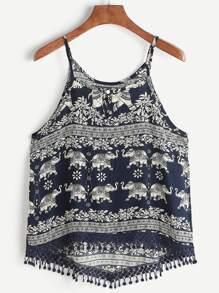 Aztec Print Crochet Lace Trim Dip Hem Cami Top