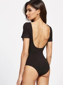 Black Double Scoop Neck Bodysuit
