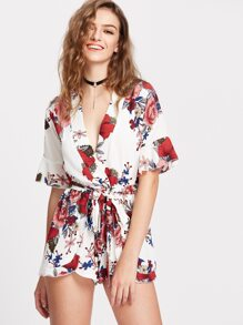 White Floral Print Deep V Neck Romper With Self Tie