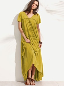 Mustard Double V Neck Frilled Tent Dress