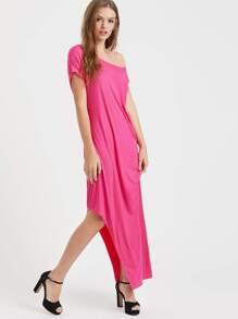 Hot Pink Off The Shoulder Asymmetric Tee Dress
