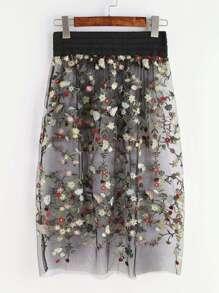 Black Flower Embroidered Sheer Mesh Skirt