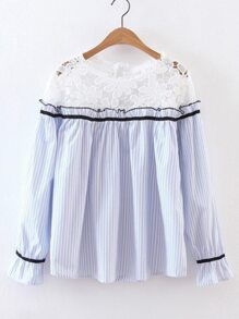 Blue Contrast Crochet Vertical Striped Blouse