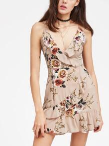Apricot Floral Ruffle Trim Slip Dress