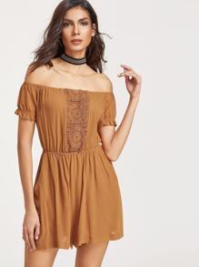 Camel Crochet Insert Ruffle Sleeve Off The Shoulder Romper