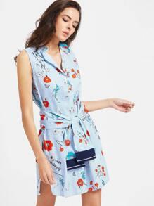Blue Striped Flower Print Shirt Dress With Self Tie