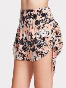 Smocked Back Drawstring Side Drop Waist Flower Shorts